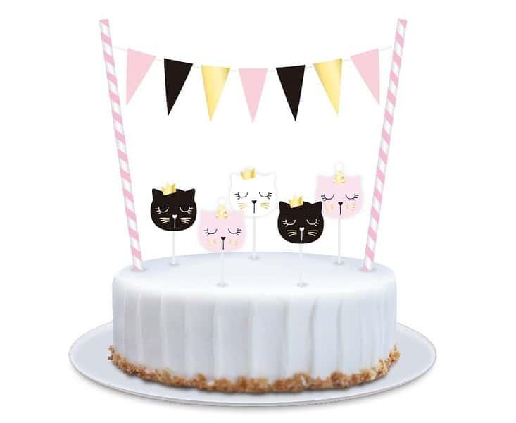Декорация за торта Коте, със свещички,